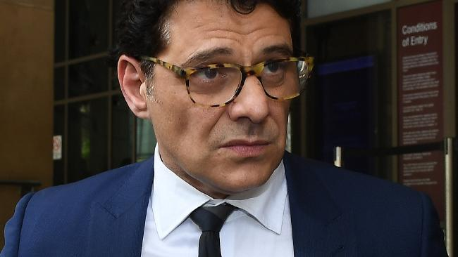Australian actor Vince Colosimo leaves the Melbourne Magistrates Court in Melbourne. Picture: Julian Smith