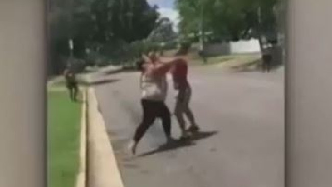 Three women are facing charges after a violent street brawl broke out in Queensland. Picture: 7 News
