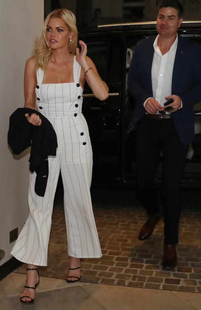 Bachelorette Sophie Monk arrives at the QT hotel at Bondi with Stu Laundy. Picture: David Swift.