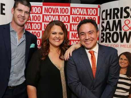 Jonathan Brown (at left, with co-hosts Chrissie Swan and Sam Pang) says he's heard word of Monk's 'secret boyfriend'. Picture: Julie Kiriacoudis