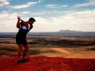Sam Newman hit a ball off Uluru. Picture: SUPPLIED