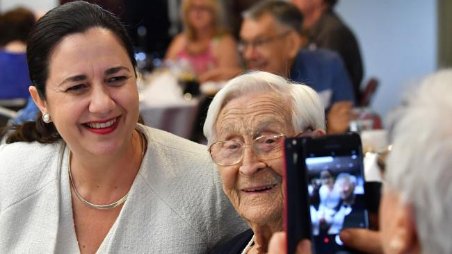 Queensland Premier Annastacia Palaszczuk is seen posing for a photo at the Premiers annual 100 plus club luncheon at Queensland Parliament House today. Picture: Darren English/AAP