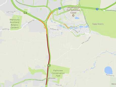 Traffic on the Bruce Hwy following a crash at Sippy Downs, at the Sunshine Mwy interchange.