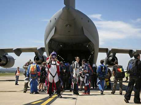 Up to 200 skydivers, who have donated to Legacy, prepare to board a No. 36 Squadron C-17A Globemaster aircraft at RAAF Base Amberley.