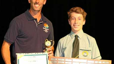 Mark Knowles with St Brendan's College Athlete of the Year Ben O'Brien.