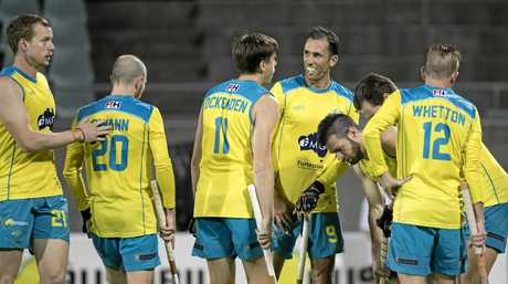 INSPIRING: Mark Knowles and his Kookaburras teammates celebrate victory at the recent Oceania Cup.