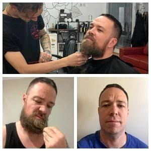 Team Captain Detective Sergeant Mick Logan having a shave to get ready for Movember.