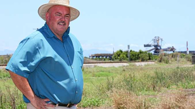 Bowen's candidate for the seat of Burdekin, Mike Brunker at the Abbot Point coal terminal.