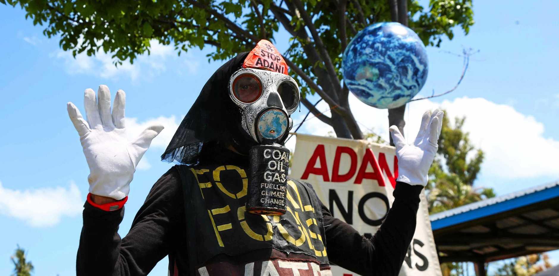 Anti-Adani protestor Benny Zane at the Airlie Beach foreshore markets.
