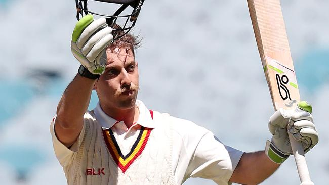 Jake Lehmann of South Australia raises his bat for his century during day 1 of the round 2 JLT Sheffield Shield cricket match between Victoria and South Australia in Melbourne, Saturday, November 4, 2017. (AAP Image/George Salpigtidis) NO ARCHIVING, EDITORIAL USE ONLY, IMAGES TO BE USED FOR NEWS REPORTING PURPOSES ONLY, NO COMMERCIAL USE WHATSOEVER, NO USE IN BOOKS WITHOUT PRIOR WRITTEN CONSENT F