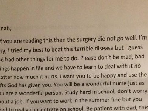 The final note from Hannah's mum. Picture: Twitter