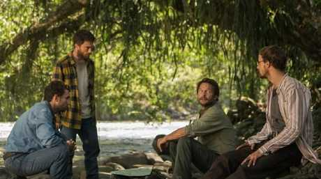 Adventure turns to horror for Alex Russell as Kevin Gale, Daniel Radcliffe as Yossi Ghinsberg, Thomas Kretschmann as Karl Ruchprecter and Joel Jackson as Marcus Stamm in Jungle.