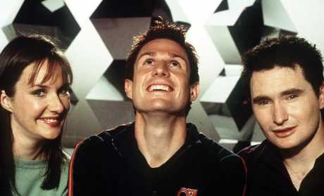Co-hosts of The Glass House ... Corinne Grant, Wil Anderson and Dave Hughes in 2001.