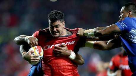 Andrew Fifita on the charge for Tonga against Samoa at Waikato Stadium.