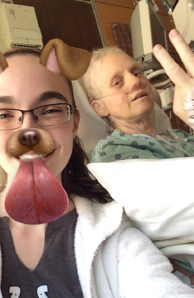 Hannah with her mum in hospital. Picture: Twitter
