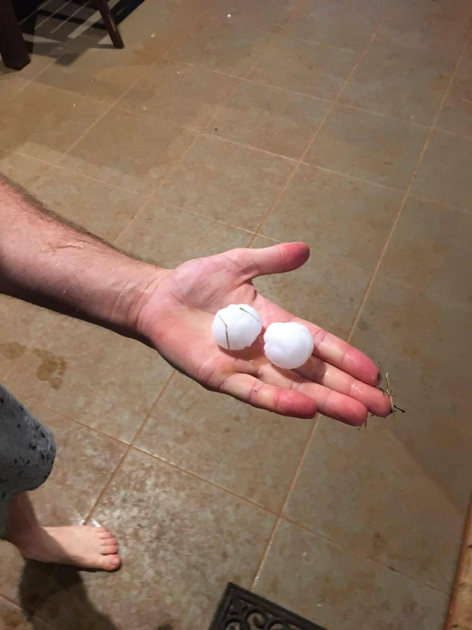 A photo of hail taken by Blake Scott at Wollongbar at 5pm on Sunday.