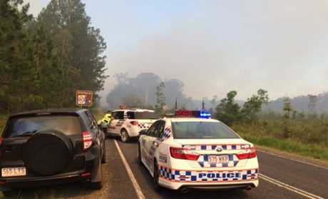 Police have closed roads near the Beerwah bushfire.