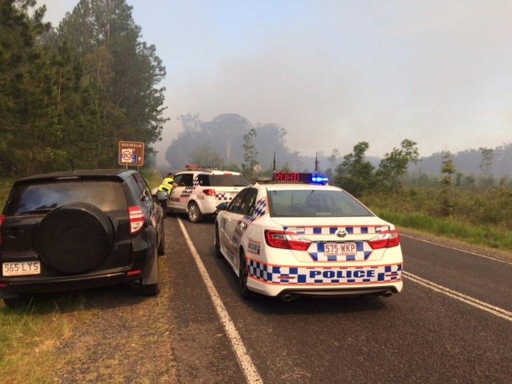 Police have closed roads near the Beerwah bushfire.