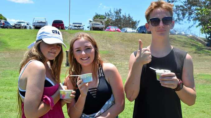 Rylee Smith, Jess Tisdell and Matthew Gray came down to the beach for a swim and stopped by the markets for an ice cream.