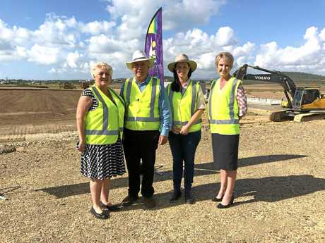 Member for Capricornia Michelle Landry, Mayor Bill Ludwig, Member for Keppel Brittany Lauga with Emu Park Bendigo Bank Branch Manager Colleen Williams inspecting the site at Emu Parks Hartley Street Sport and Recreation Precinct this morning.