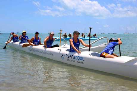 Open womens Outrigger Whitsunday OC6 finish thier race at the Outrigger Challenge on Saturday.