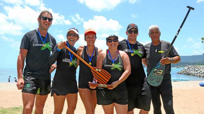 Winners of the 2017 Outrigger Challenge are Joleen Tirendi, Amy Van Der Vlist, Kia Taylor, Grant Restieaux and Malcolm Briody from Cross Fit 4802 with Henri Mauri from Outrigger Whitsunday.