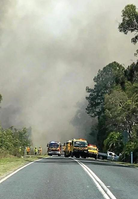 BLAZE: Firefighters battled all afternoon to contain the blaze that threatened 30 homes.