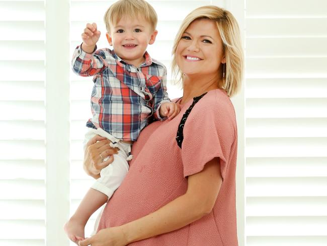 Sarah Harris, pictured with her two-year-old son, Paul, is expecting her second baby boy. Picture: Richard Dobson