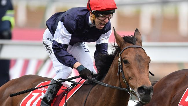 Kerrin McEvoy wins the 2016 Melbourne Cup on Almandin. Picture: AAP Image/Julian Smith