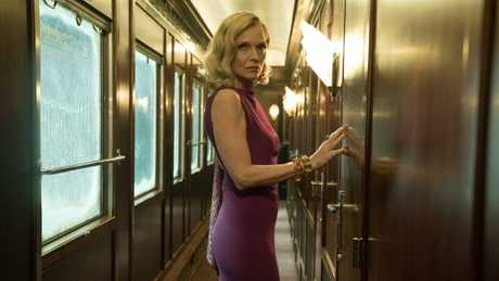 Pfeiffer as Mrs Hubbard in a scene from Twentieth Century Fox's film Murder on the Orient Express. Picture: Supplied.