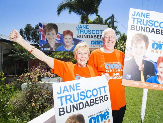 One Nation Supporters Shirley and Paul Hamilton in Bundaberg. Picture: Lachie Millard