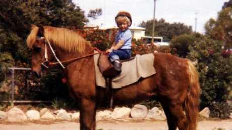 Kerrin McEvoy riding a pony in 1983.