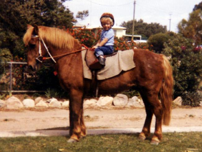 Kerrin McEvoy riding a pony in 1983.