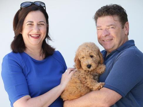 Premier Annastacia Palaszczuk with partner Shaun Drabsch and canine companion Winton. Picture: Jamie Hanson