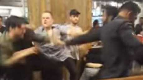 The brawl started after a patron was ejected from a bar.
