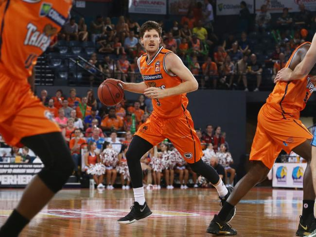 Action from the NBL match between the Cairns Taipans and the New Zealand Breakers, held at the Cairns Convention Centre. Taipans captain Cameron Gliddon. Picture: BRENDAN RADKE.