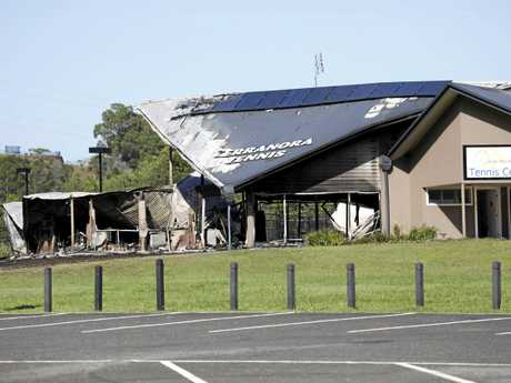 A fire has destroyed the Joan Nicoll Tennis Centre in Terranora. Emergency services were called to the scene early Friday morning.