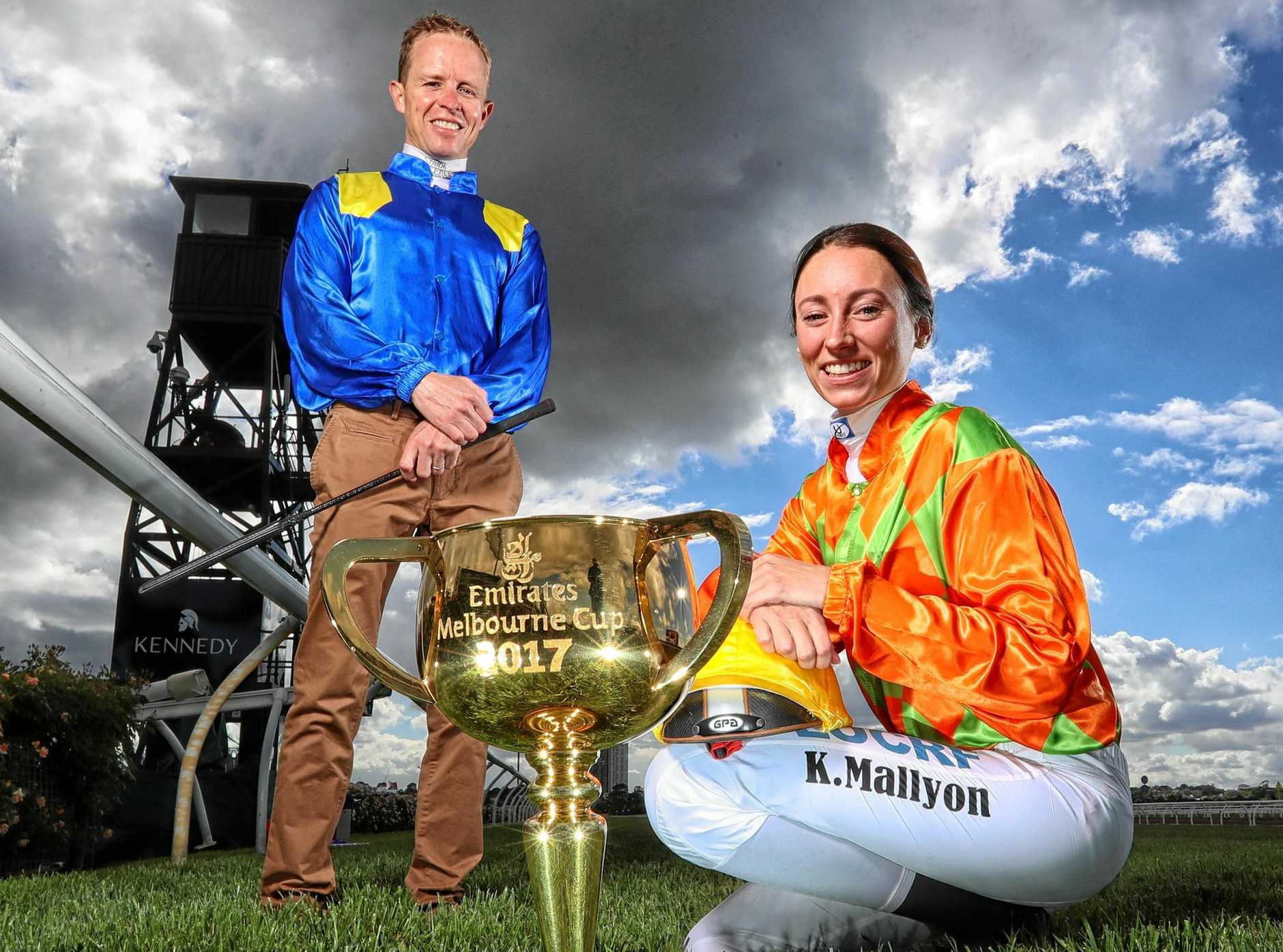 Jockeys Kerrin McEvoy and Katelyn Mallyon ready for the Melbourne Cup on Tuesday.