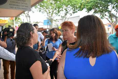 Senator Pauline Hanson talking with a Gympie resident.