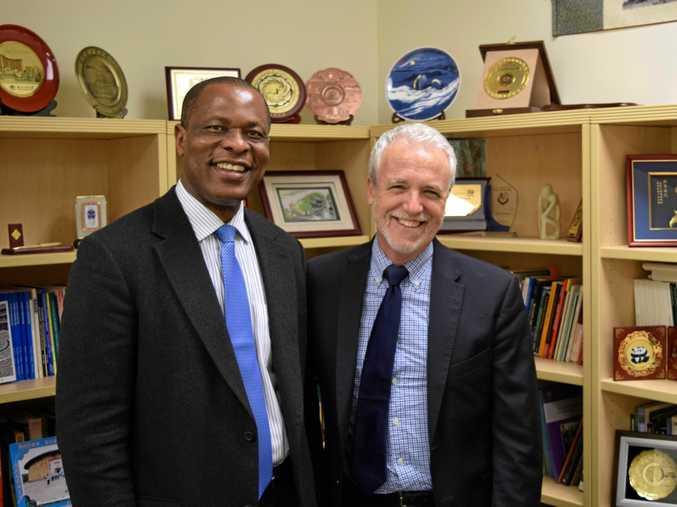 PARTNERS: USQ School of Teacher Education and Early Childhood Head of School Professor Stephen Winn with Vice Provost of International Affairs Kelechi Kalu from UC Riverside.