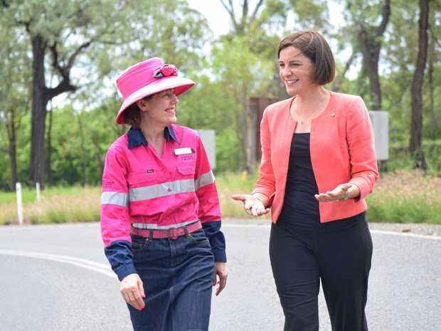South Burnett Regional Council deputy mayor Kathy Duff and Deputy Leader of the LNP Deb Frecklington on the Mundubbera-Durong road.