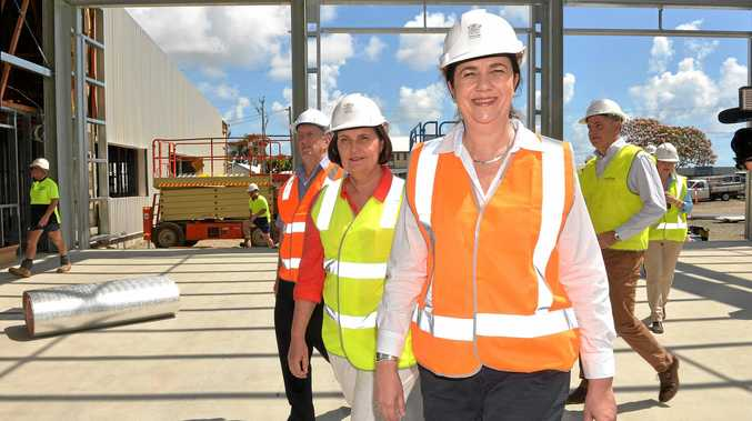Member for Mirani Jim Pearce, Member for Mackay Juileanne Gilbert and Queensland Premier Annastacia Palaszczuk tour the new Mackay firestation.