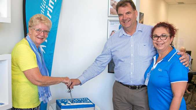 HEARING HELP: Maureen Hall with Burnett MP Stephen Bennett and Australian Hearing Centre manager Lisa Christiansen at the opening of the centre in Bargara.