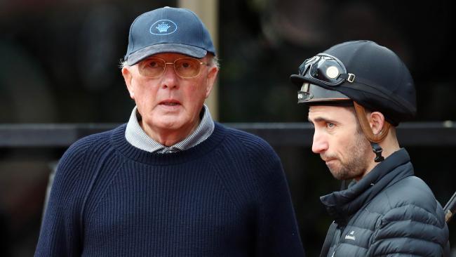 2/11/17 Thoroughbred owner Lloyd Williams talking to jockey Anthony Darmanin at Mooney Valley Racecourse supervising trackwork. Aaron Francis/The Australian
