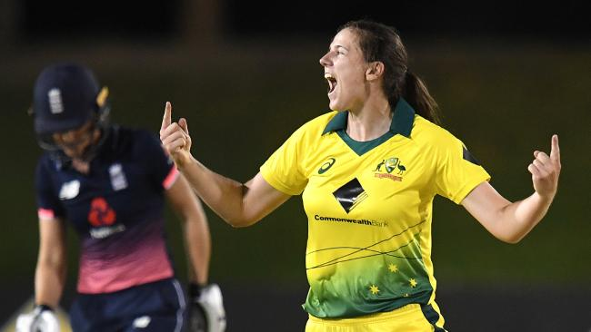 Tahlia McGrath of Australia reacts after dismissing Sarah Taylor of England (left) during the second One Day International match between Australia and England at Coffs Harbour International Stadium in Coffs Harbour. (AAP)