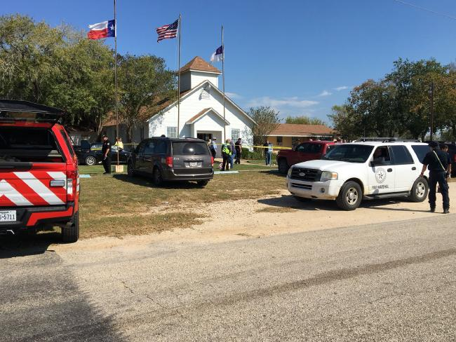 The scene outside First Baptist Church of Sutherland Springs, near San Antonio, Texas, where a mass shooting took place. Source: @MaxMasseyTV