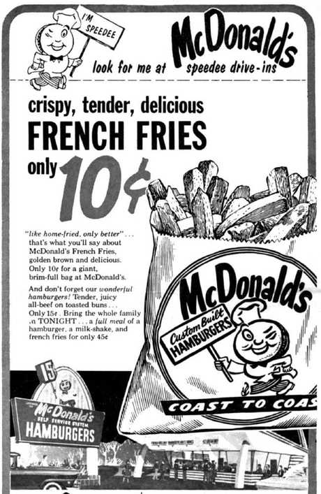 A vintage poster for McDonald's French Fries. Ray Kroc's first McDonald's restaurant opened on 15 April, 1955 in Des Plaines, Illinois.