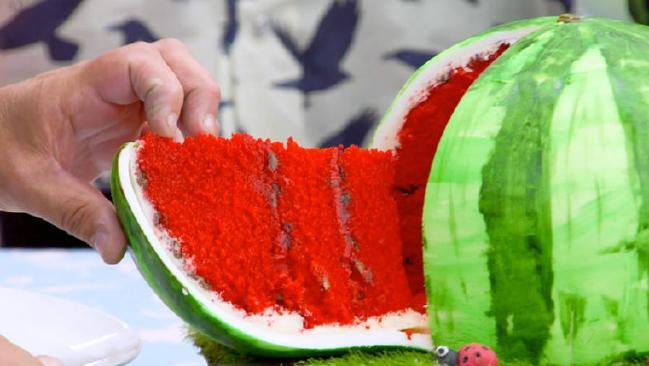 Is it a watermelon? Is it a cake? Is it a watermelon cake?