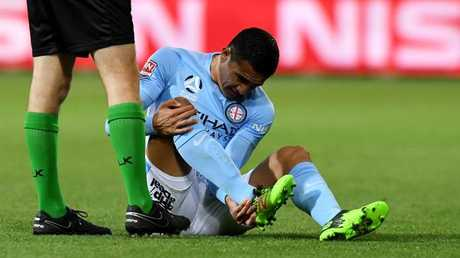 Tim Cahill of Melbourne City after the injury.