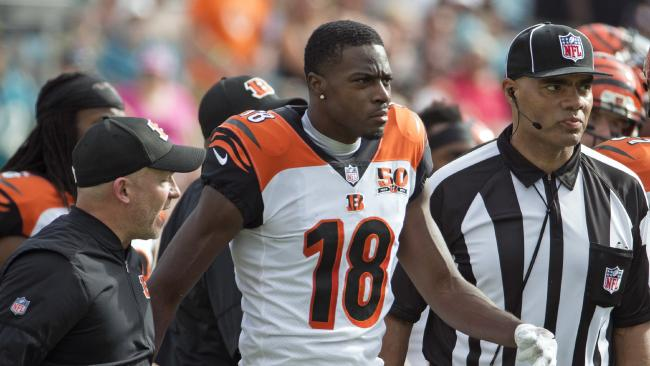 A.J Green escorted off the field after the incident.